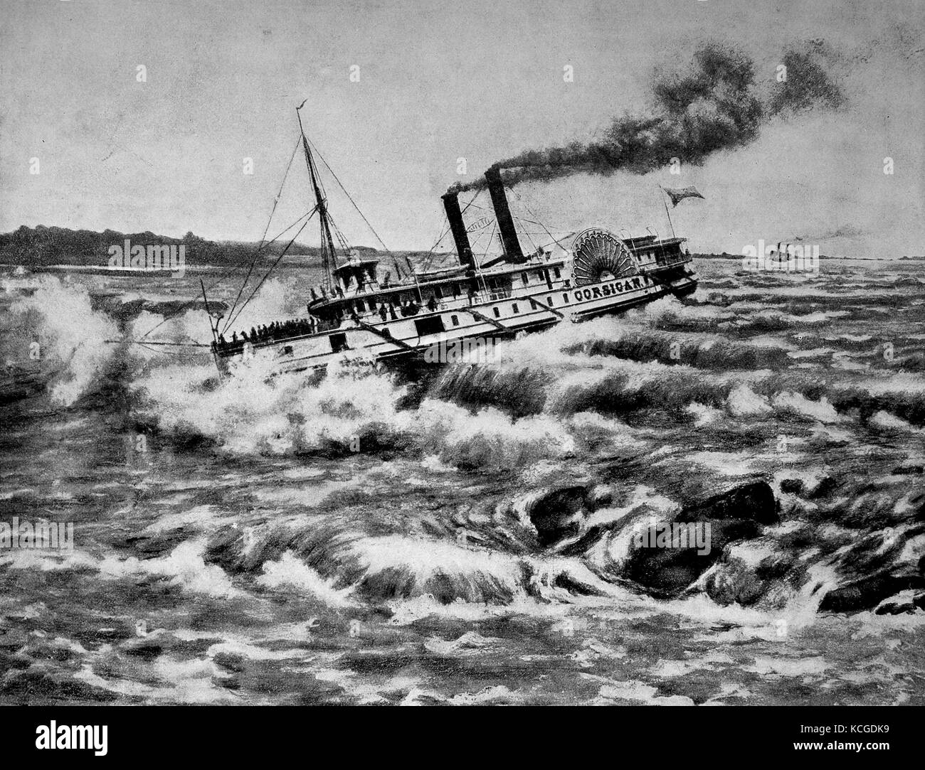 United States of America, with the steamer down the rapids of the Sant Lorenz river, digital improved reproduction - Stock Image