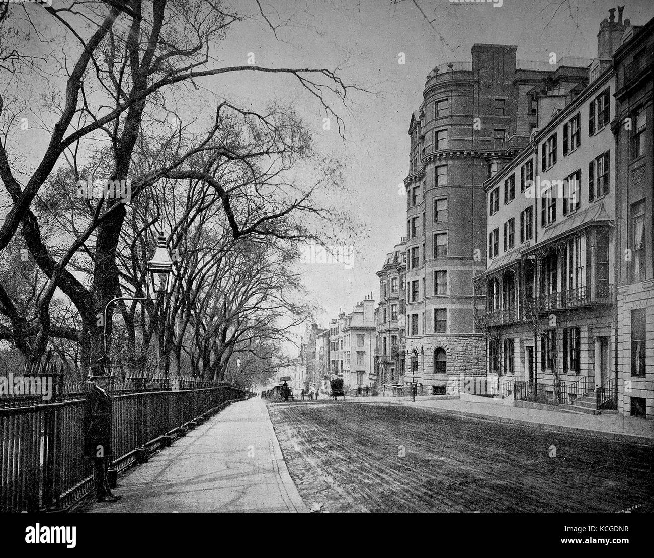 United States of America, building and street scene of Beacon Street in Boston, state of Massachussetts, digital - Stock Image