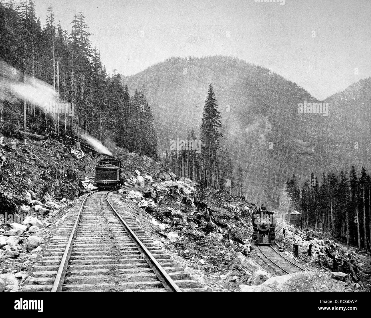 United States of America, the railway line of the Great Northern Railway at the switch-back, part of the Cascade - Stock Image