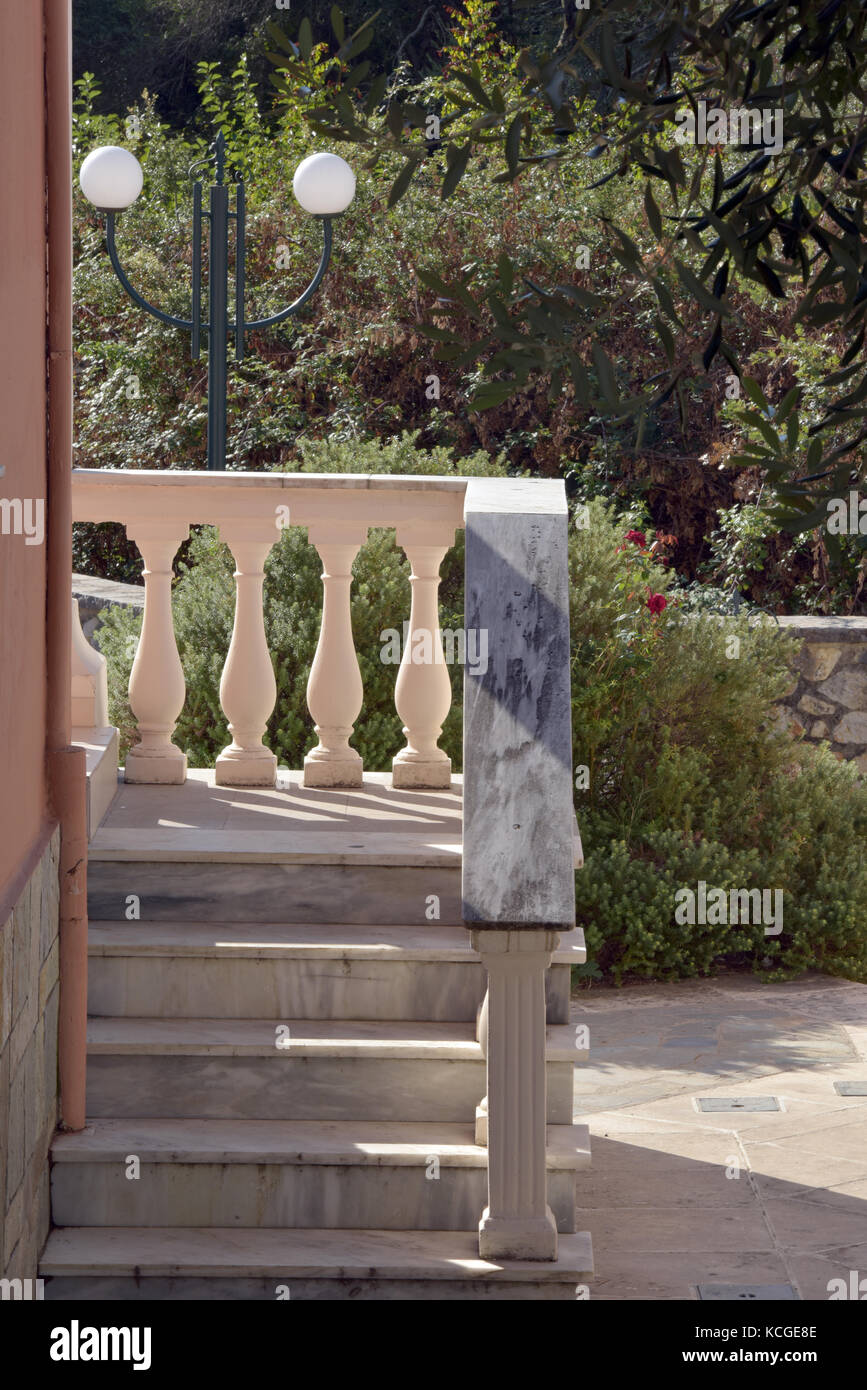 a set of stone steps with classical greek or roman ballusters and railings in stone, Stock Photo