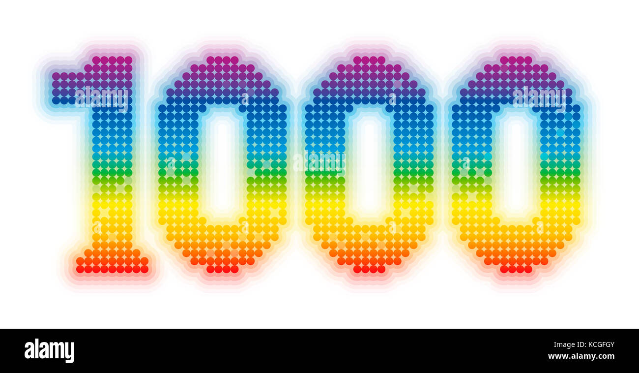 THOUSAND - exactly one thousand counted rainbow colored glossy, shimmering, gleaming platelets. - Stock Image