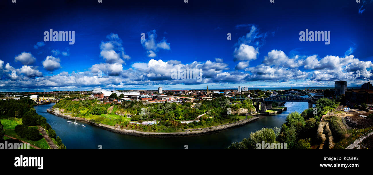 The Wear gorge in Sunderland from the top of the office development on the old Vaux Brewery site by Siglion. The - Stock Image