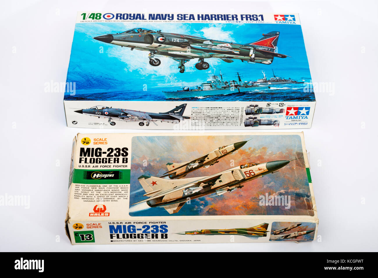 Cold War fighter jets Scale model kits - Stock Image