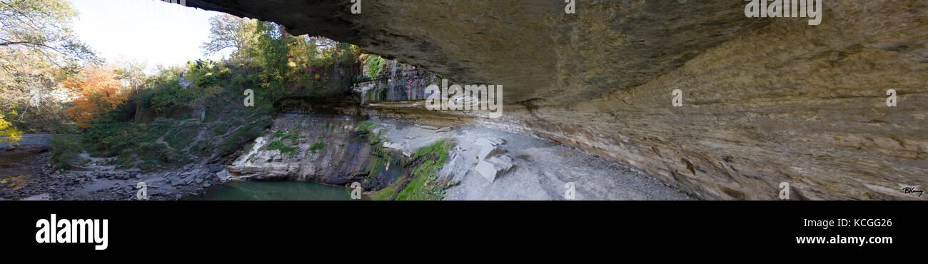 A panoramic view from under Minnehaha Falls during an usually dry season. - Stock Image