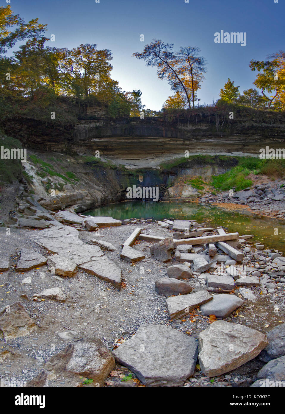 A vertical panorama of Minnehaha Falls during an unusually dry season. - Stock Image