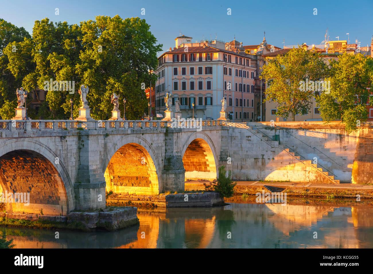 Saint Angel bridge at sunrise, Rome, Italy. - Stock Image