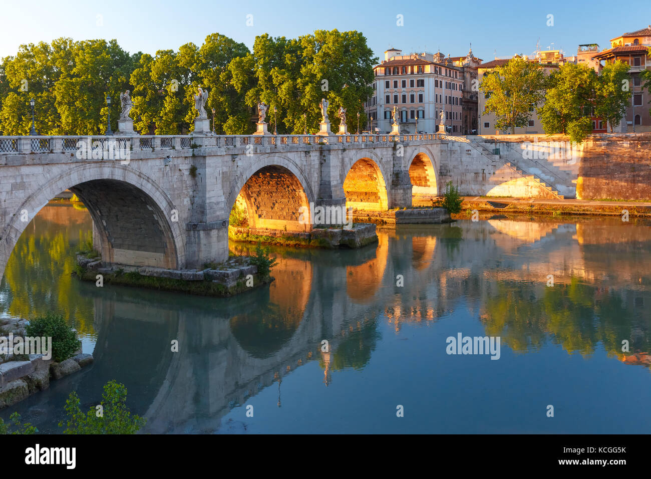 Saint Angel bridge at sunrise, Rome, Italy. - Stock Image