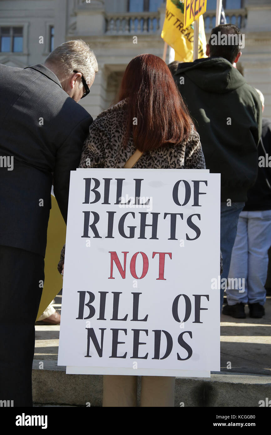 Atlanta, Georgia USA, 19 Jan 2013, A woman holds a protest sign reading Bill of Rights Not Bill of Needs, at 2nd - Stock Image