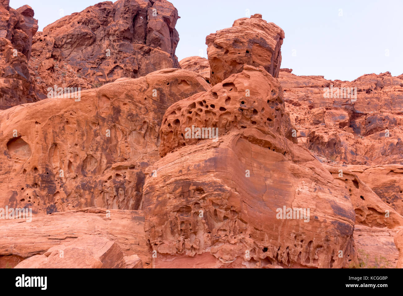 Porous rock formations in The Valley of Fire Stock Photo