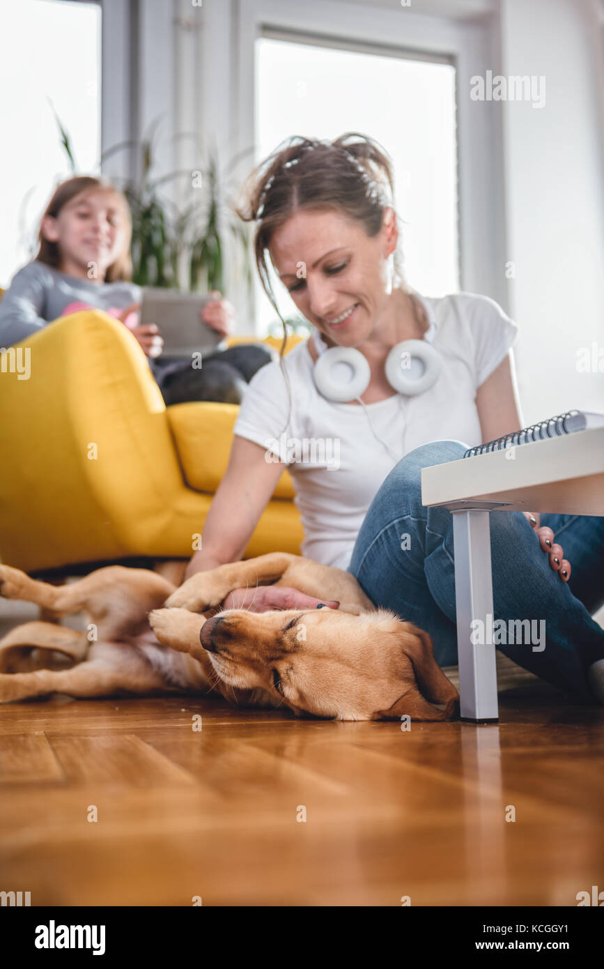 Woman sitting on the floor and Stroking dog at home while daughter sitting on the armchair and using tablet - Stock Image