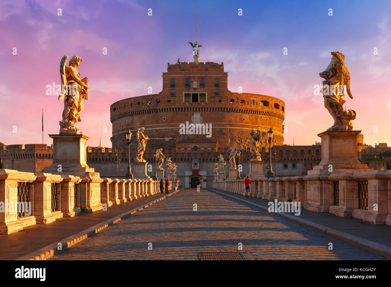 Saint Angel castle and bridge, Rome, Italy - Stock Image