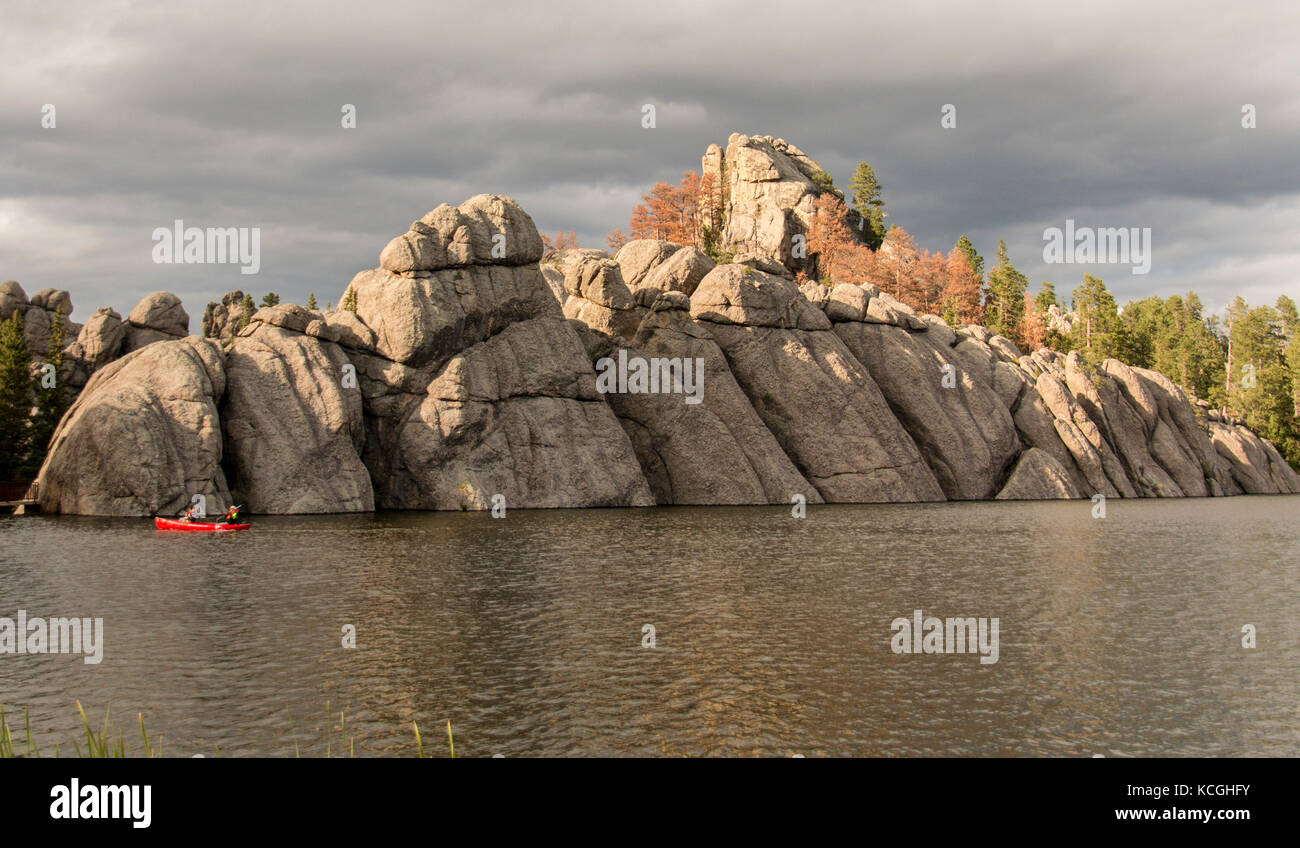 An unusual rock formation on the bank of Sylvan Lake in South Dakota. - Stock Image
