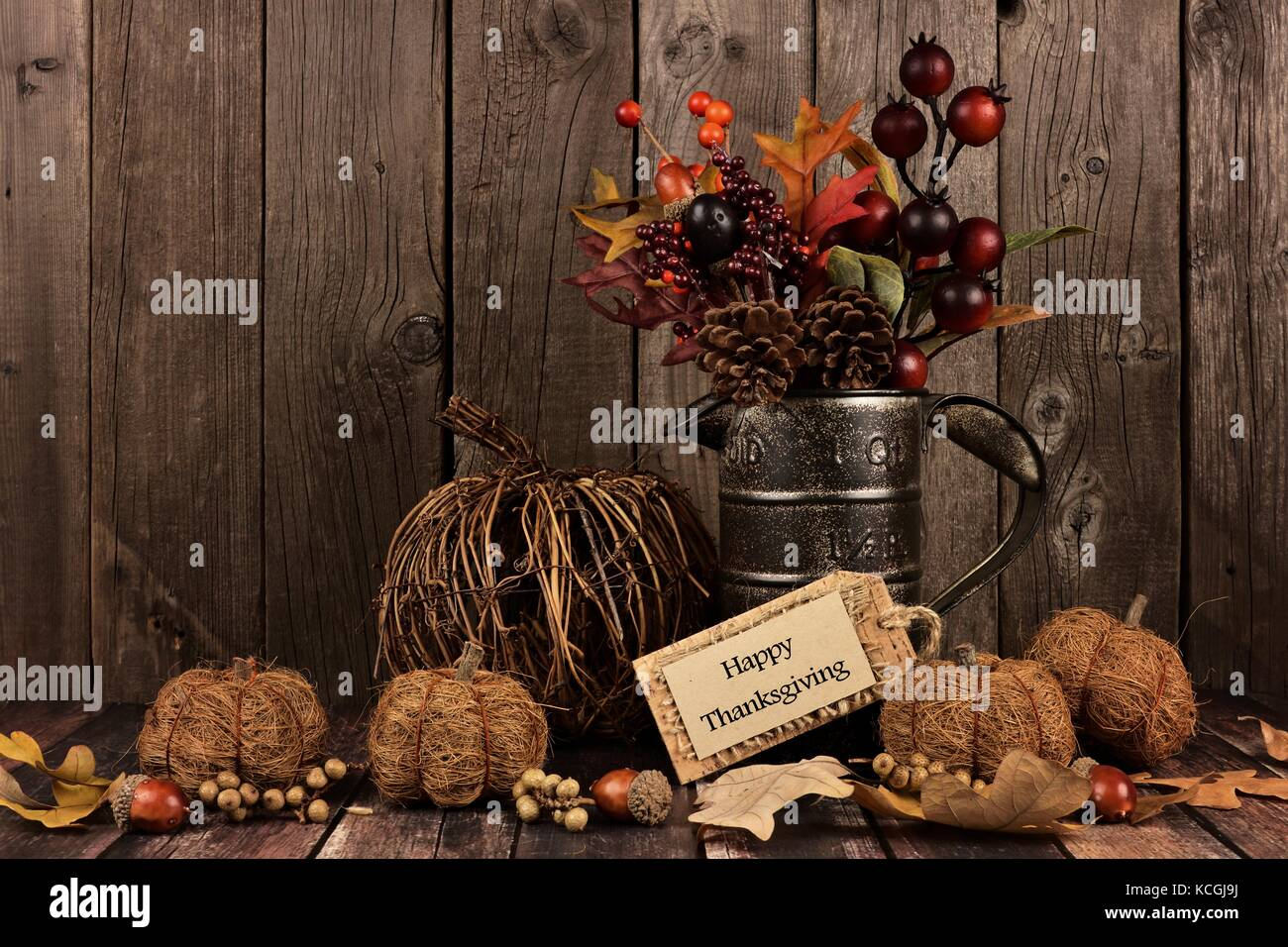 Happy Thanksgiving Tag Rustic Pumpkins And Autumn Home Decor With A Wood Background