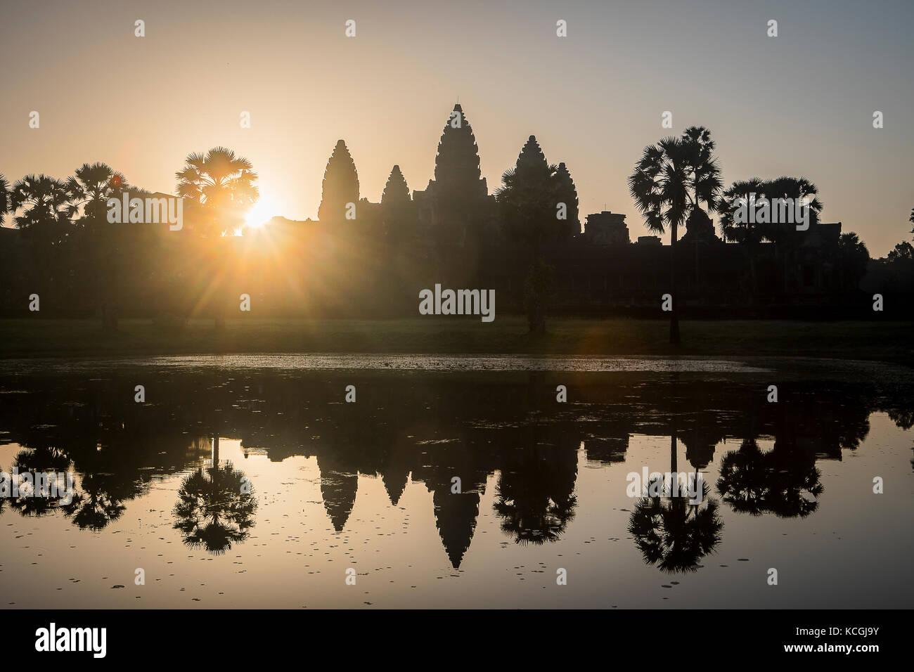 Sunrise, in Angkor Wat, Siem Reap, Cambodia - Stock Image