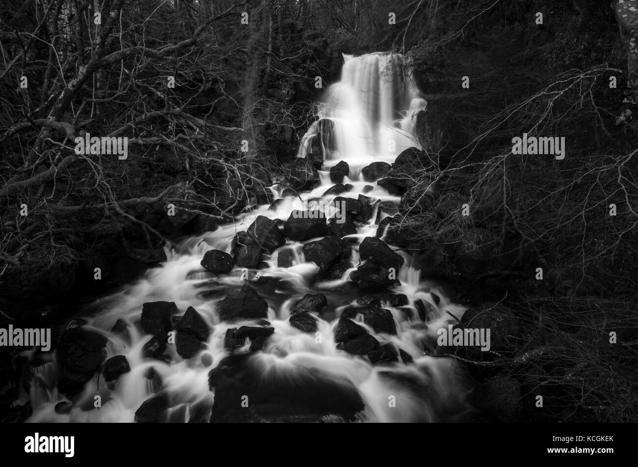 Lower falls, waterfall, Aros burn, Aros Park, near Tobermory, Isle of Mull, Hebrides, Argyll and Bute, Scotland - Stock Image