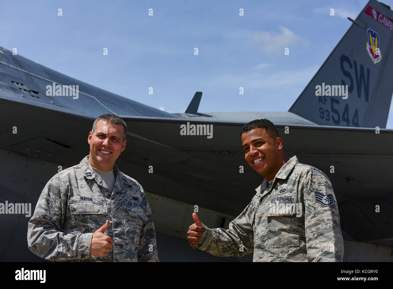 U.S. Air Force Capt. Stephen Hudson, the public affairs officer assigned to the South Carolina Air National Guard's - Stock Image