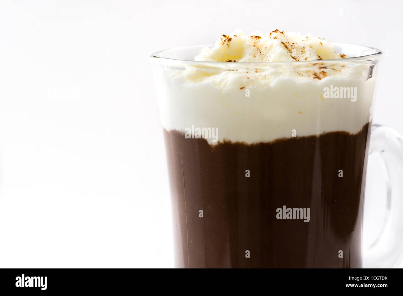 Irish coffee in glass isolated on white background - Stock Image