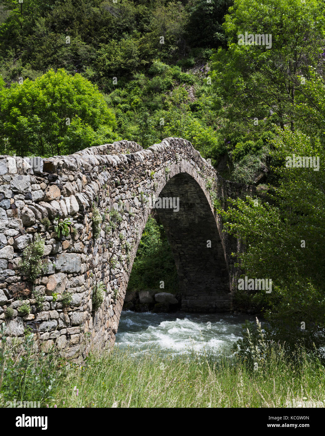 Principality of Andorra.  Pont de la Margineda, or La Margineda Bridge at La Margineda.  The single arch hump-backed - Stock Image