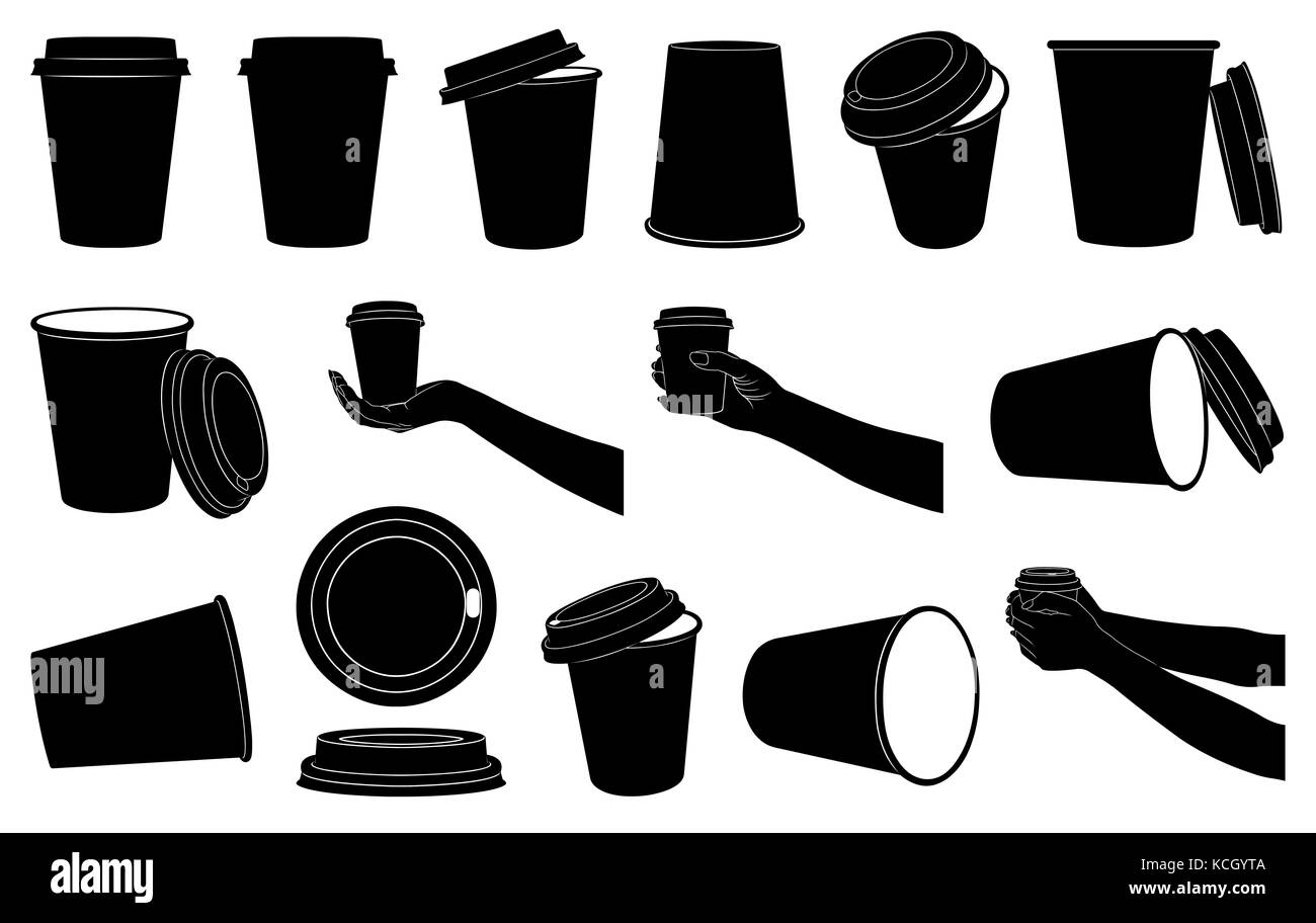 Set of different paper cups for coffee or tea isolated on white Stock Photo