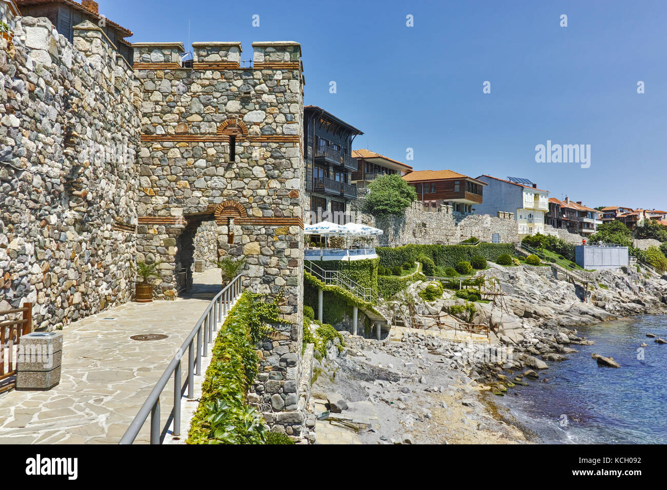 ancient fortifications and  embankment  of Sozopol, Burgas Region, Bulgaria - Stock Image