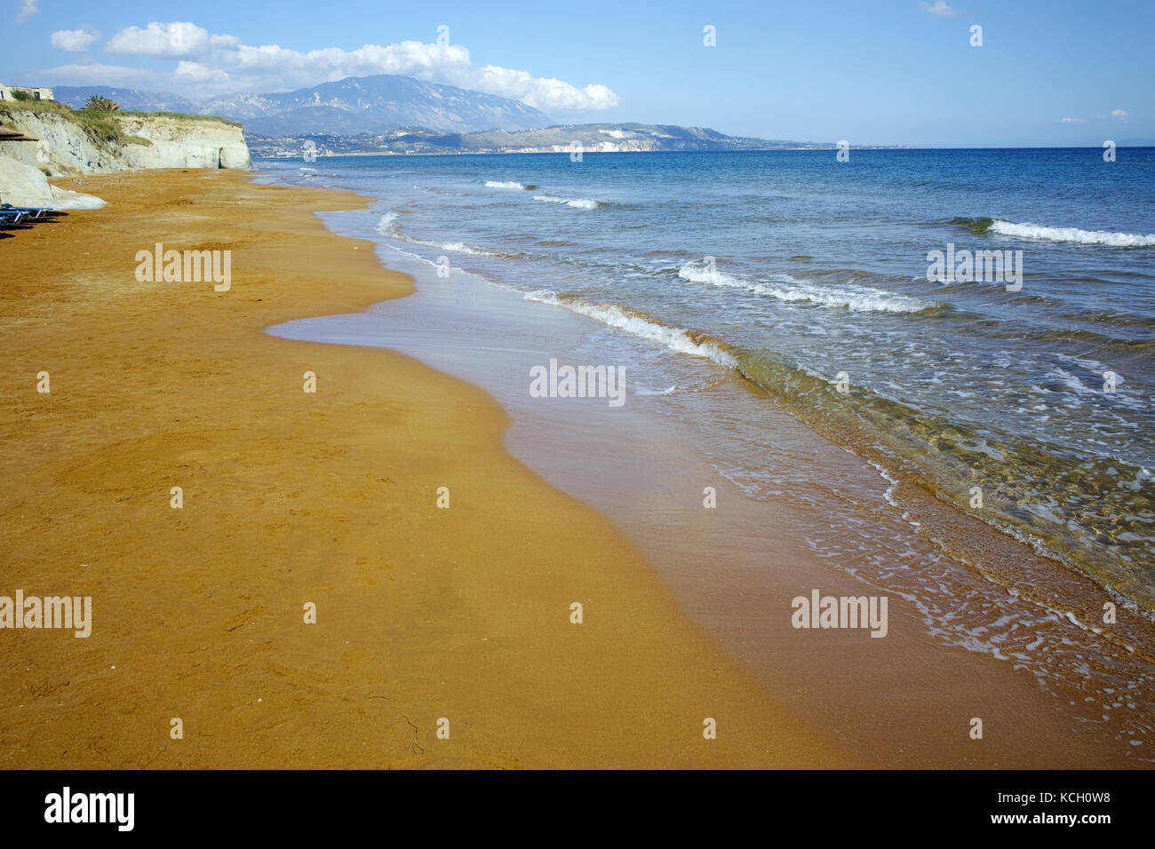 amazing view of Xi Beach,beach with red sand in Kefalonia, Ionian islands, Greece - Stock Image