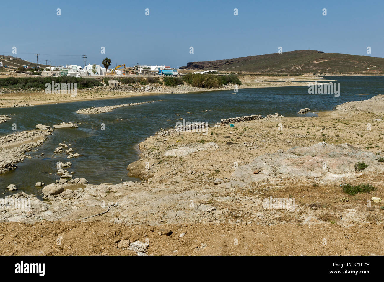 Panoramic view of Lake of Marathi, Mykonos island, Cyclades, Greece - Stock Image