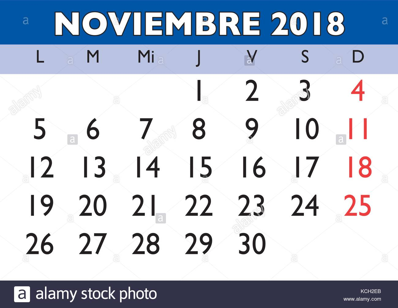 November month in a year 2018 wall calendar in spanish ...