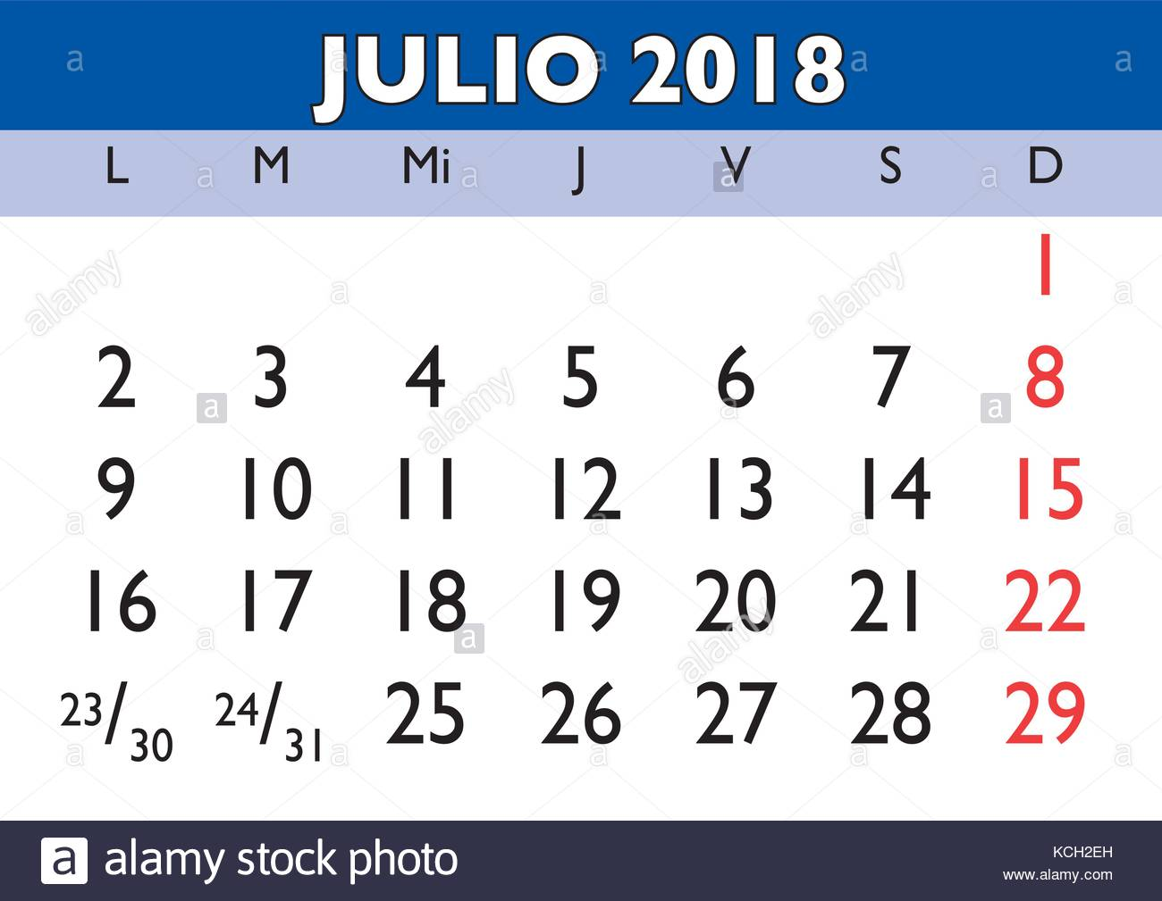 july month in a year 2018 wall calendar in spanish julio 2018 calendario KCH2EH