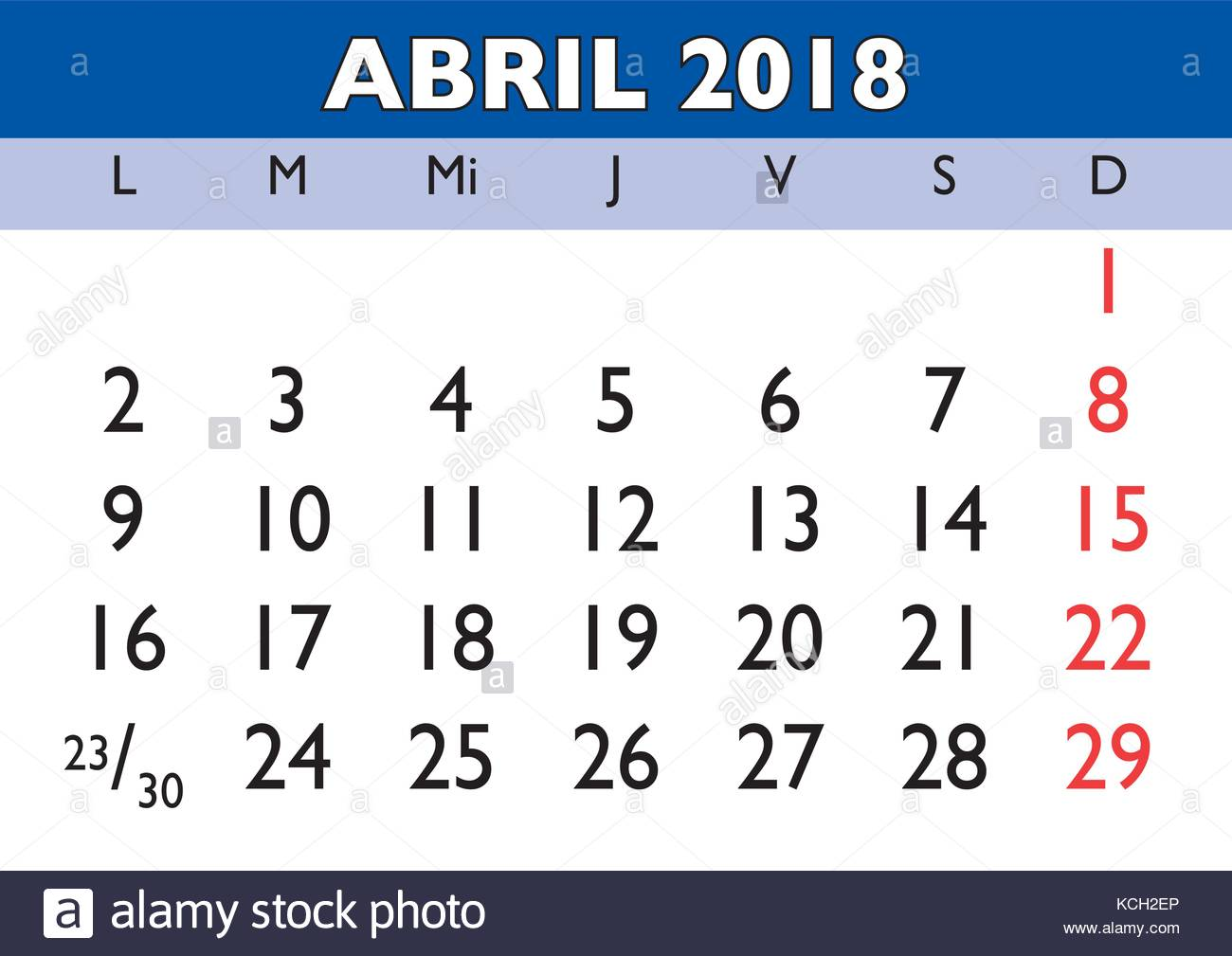 April Calendar In Spanish : April month in a year wall calendar spanish abril
