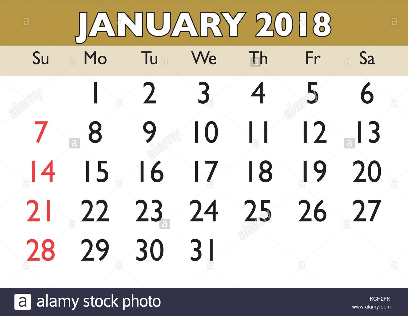 2018 calendar month by month