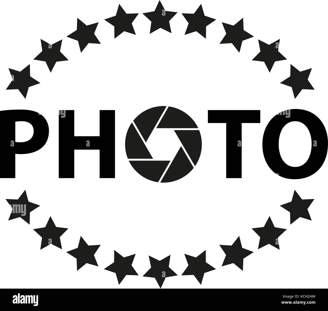 Icon and logo for photographer with asterisks and aperture. - Stock Image