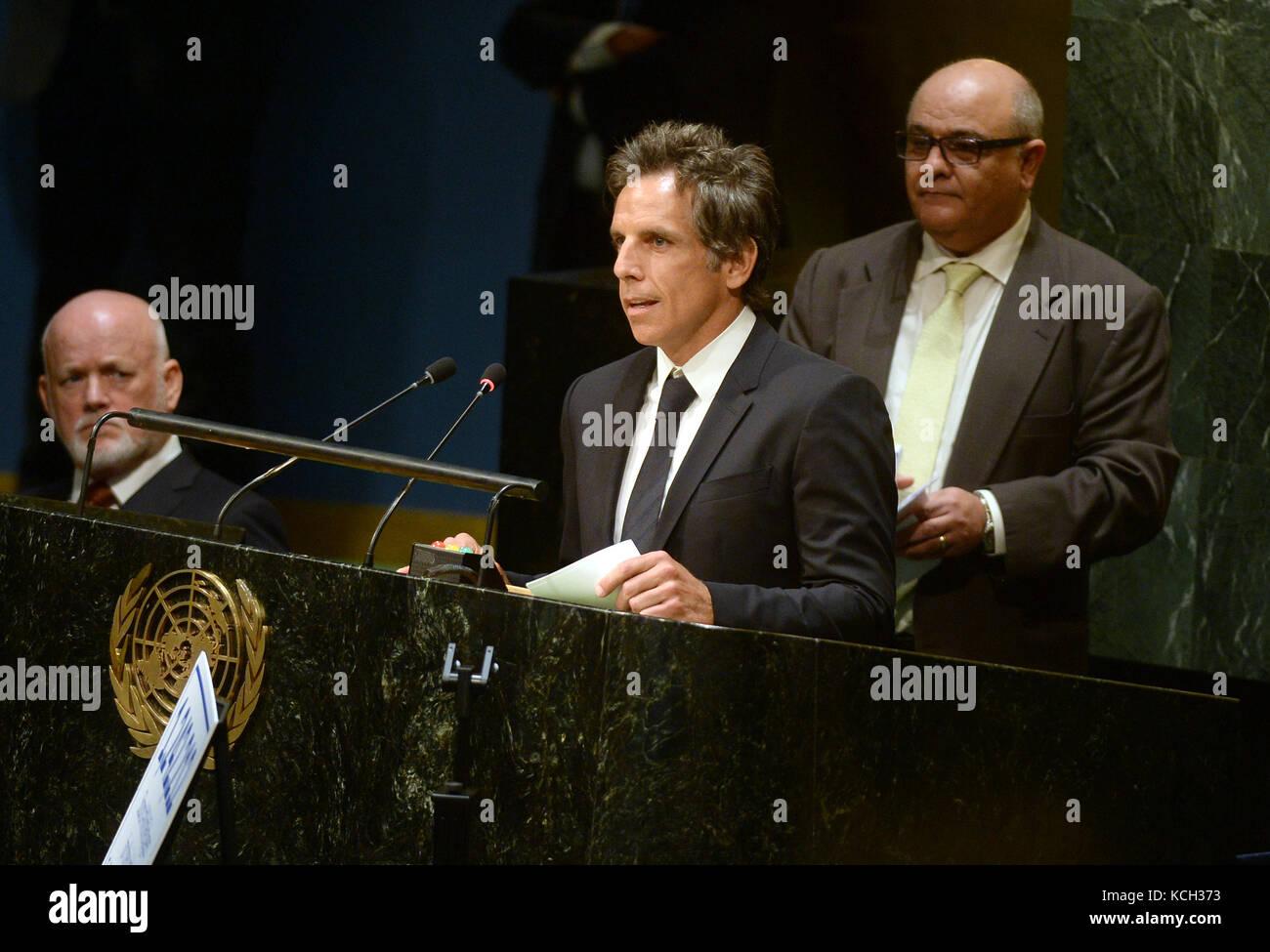 NEW YORK, NY - SEPTEMBER 16: UNHCR supporter Ben Stiller speaks during UNHCR #WithRefugees petition handover at Stock Photo