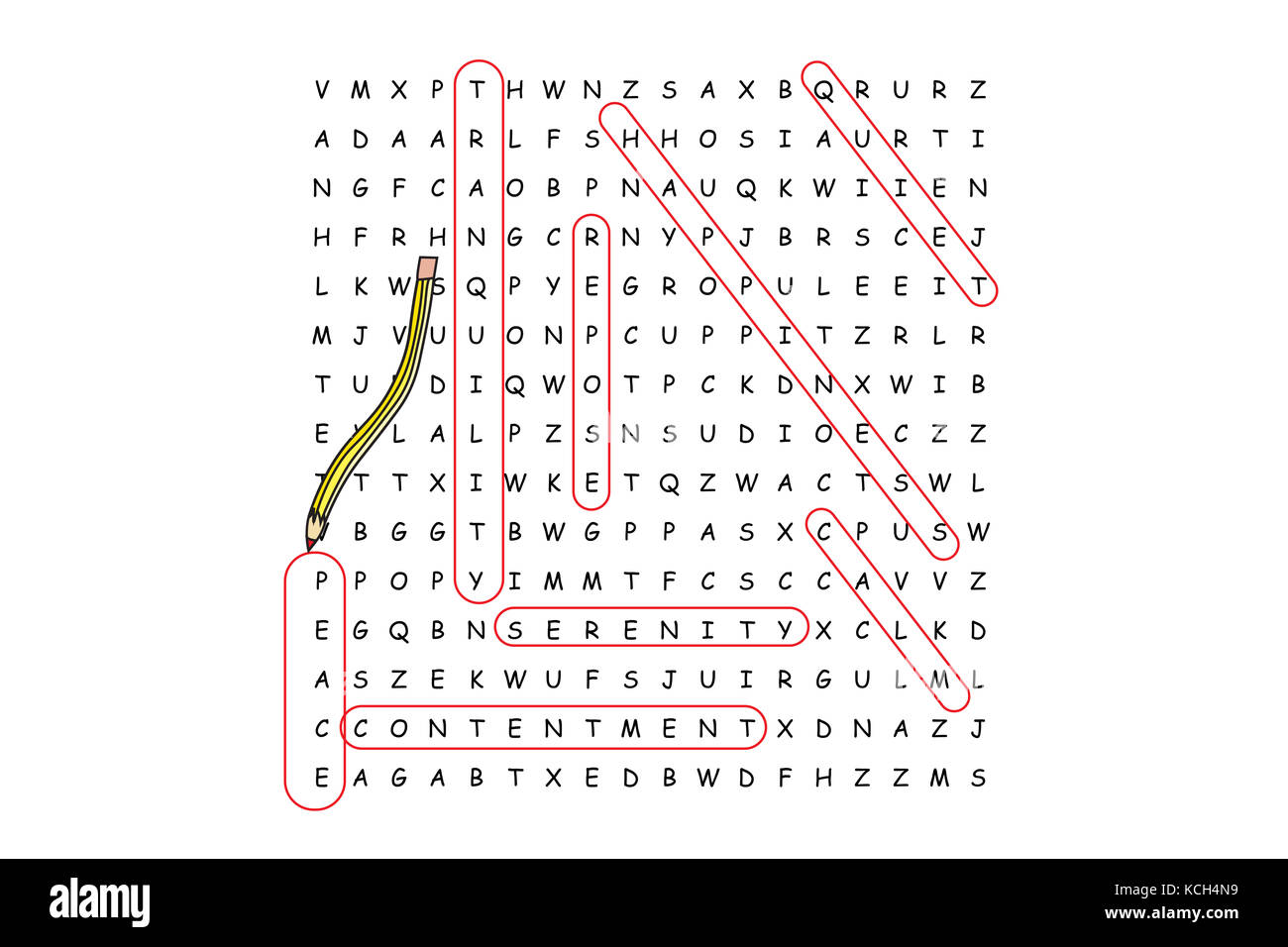 Finding peace word search puzzle with red pencil and associated words. - Stock Image