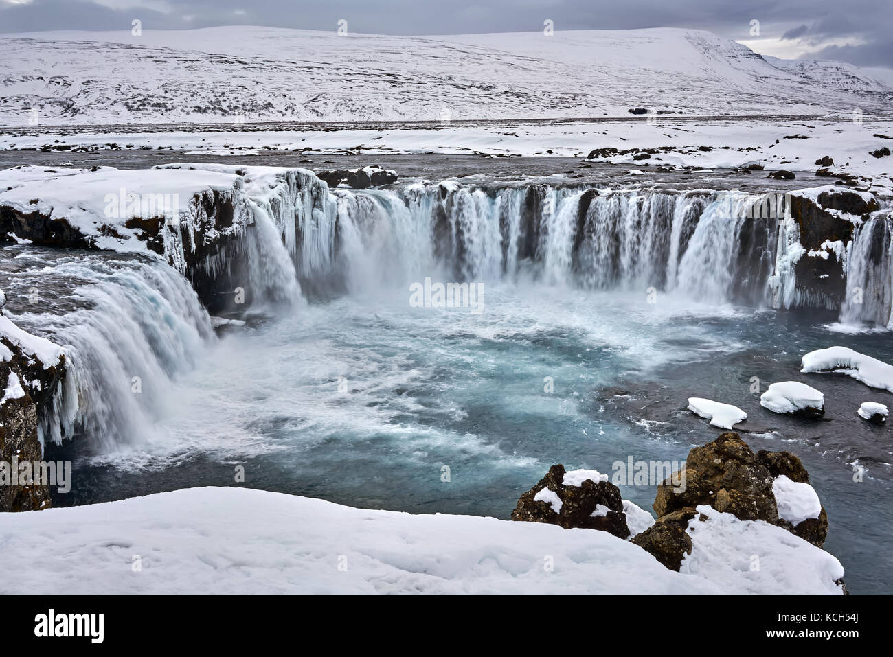 Icelandic landscape with waterfall Stock Photo