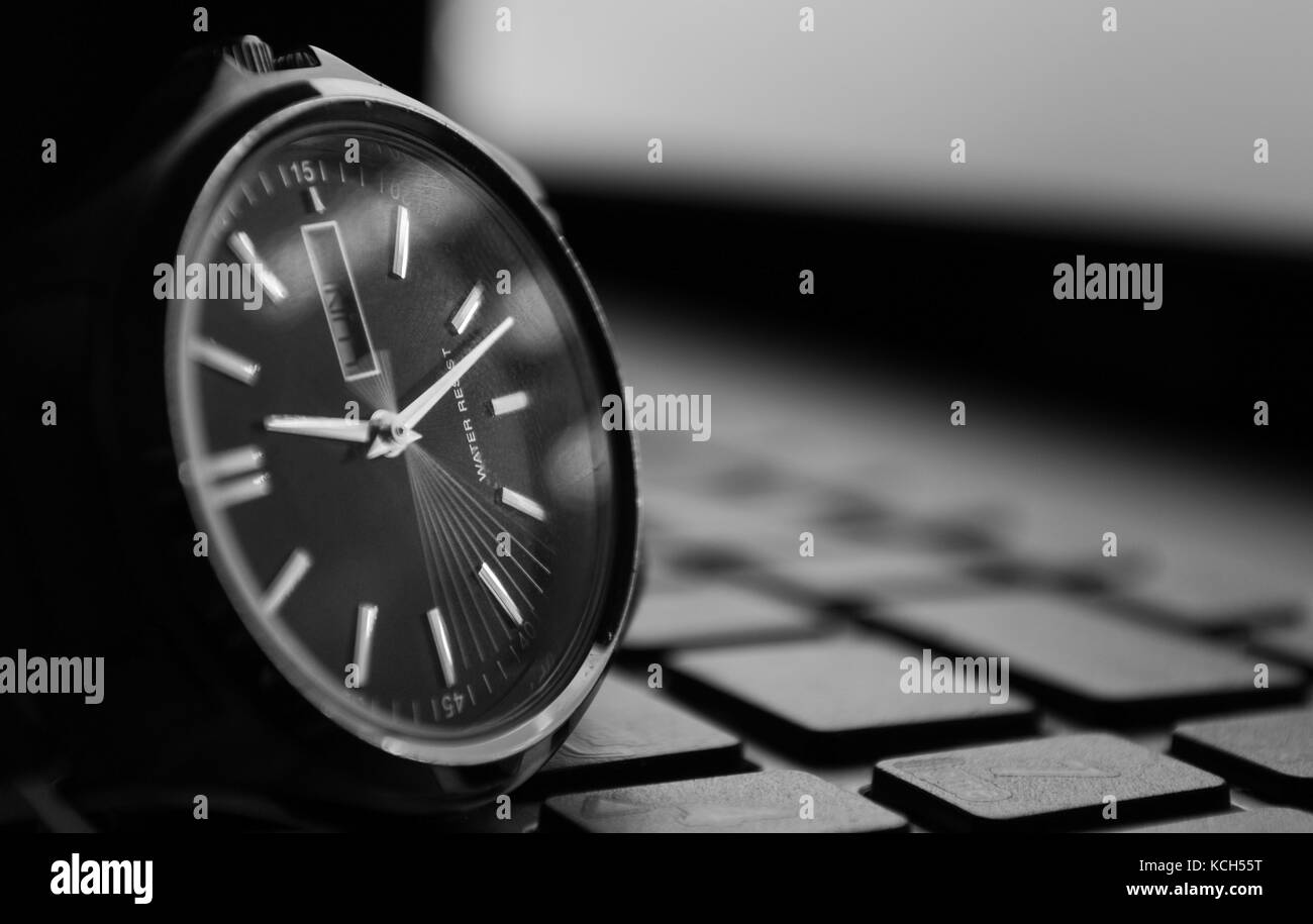 Seconds time is moving, watch on keyboard - Stock Image