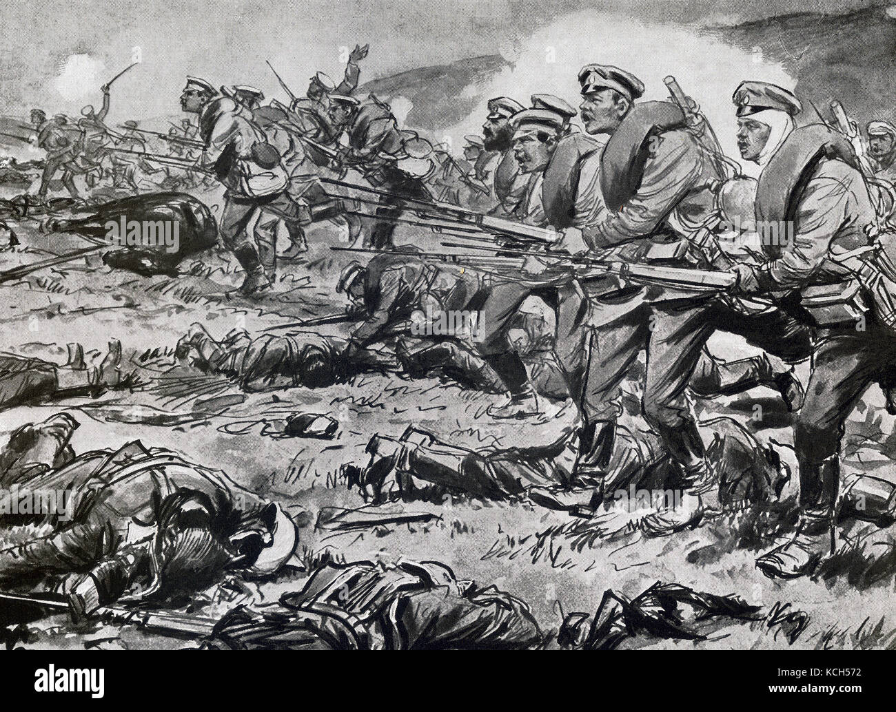 This illustration dates to around 1916. It shows Russian infantry advancing under fire during World War I. - Stock Image