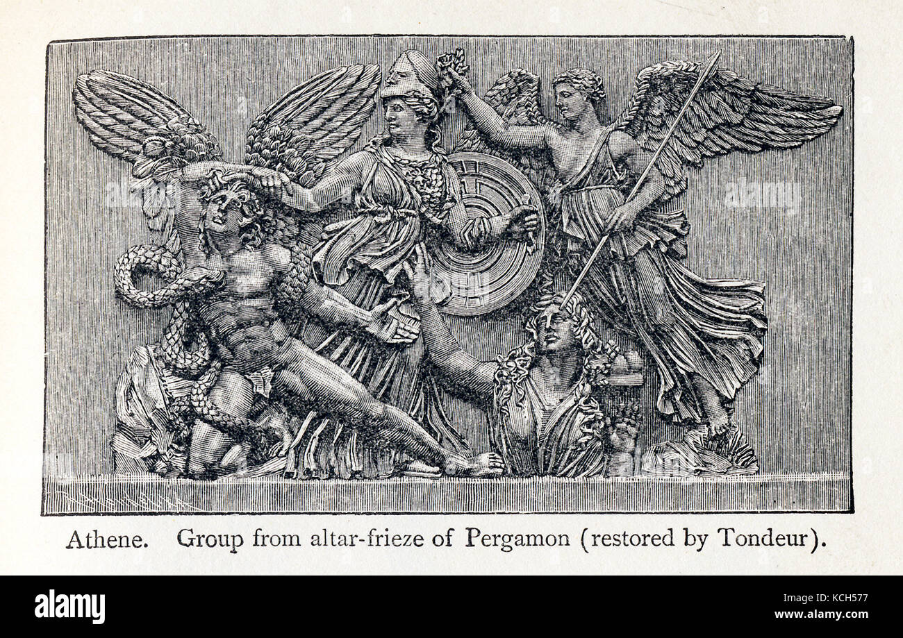 This line drawing from 1898 shows the Greek goddess Athene (also spelled Athena)  - holding the shield. This grouping - Stock Image