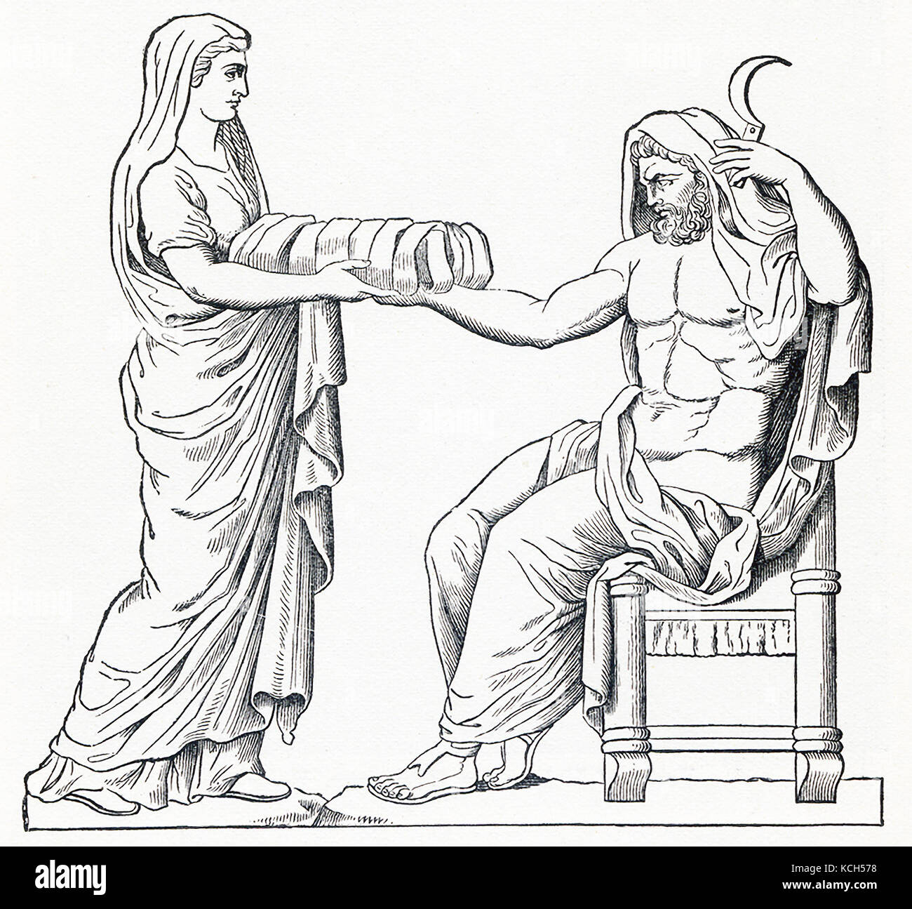 This illustration, dating to 1898, shows the ancient Greek/Roman deities Cronus and Rhea. According to Greek and - Stock Image