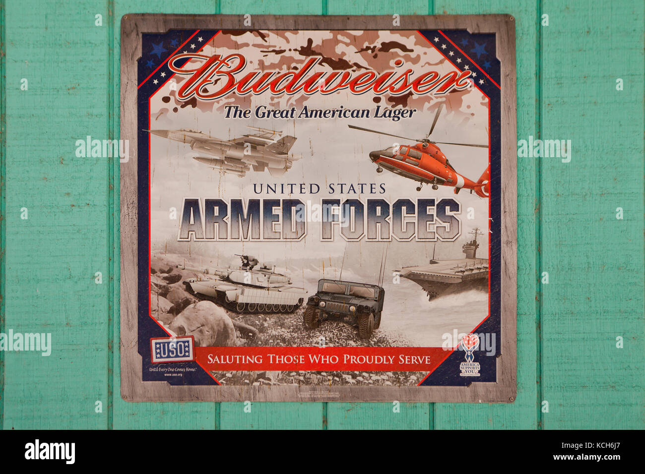 Budweiser US Armed Forces ad poster - USA - Stock Image