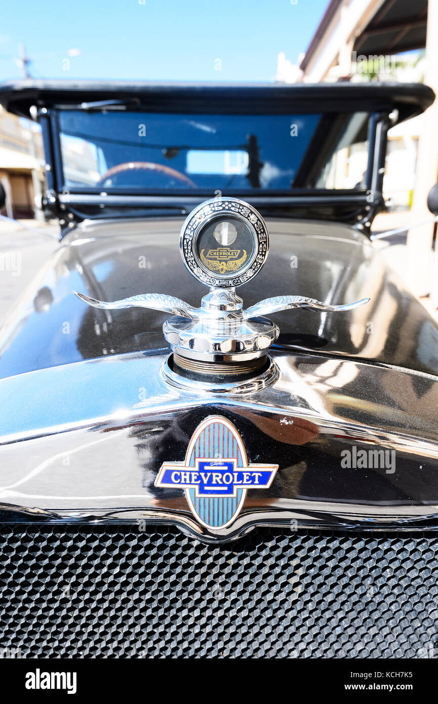 Front view of a vintage Chevrolet car with badge, Charters Towers, Queensland, QLD, Australia - Stock Image