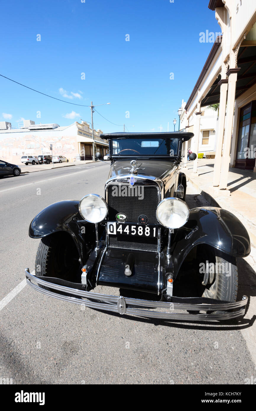 Front view of a vintage Chevrolet car parked in the street in Charters Towers, Queensland, QLD, Australia - Stock Image