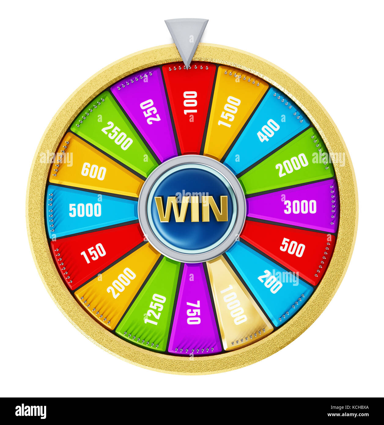 Wheel of fortune isolated on white background. 3D illustration. - Stock Image