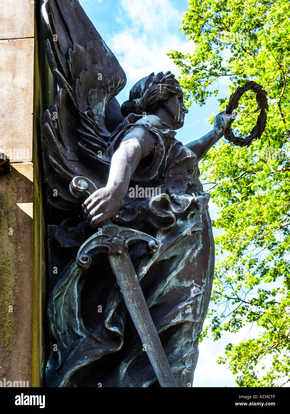LF Roslyn's Sculpture, detail, War Memorial, The Slopes, Buxton, Derbyshire - Stock Image