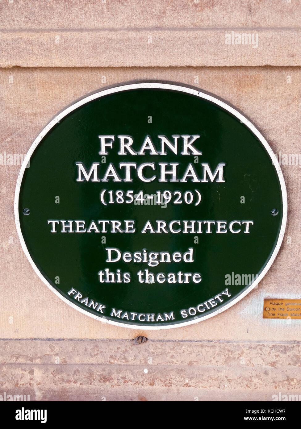Frank Matcham,theatre architect, Wall Plaque, Buxton Opera House, Buxton, Derbyshire - Stock Image