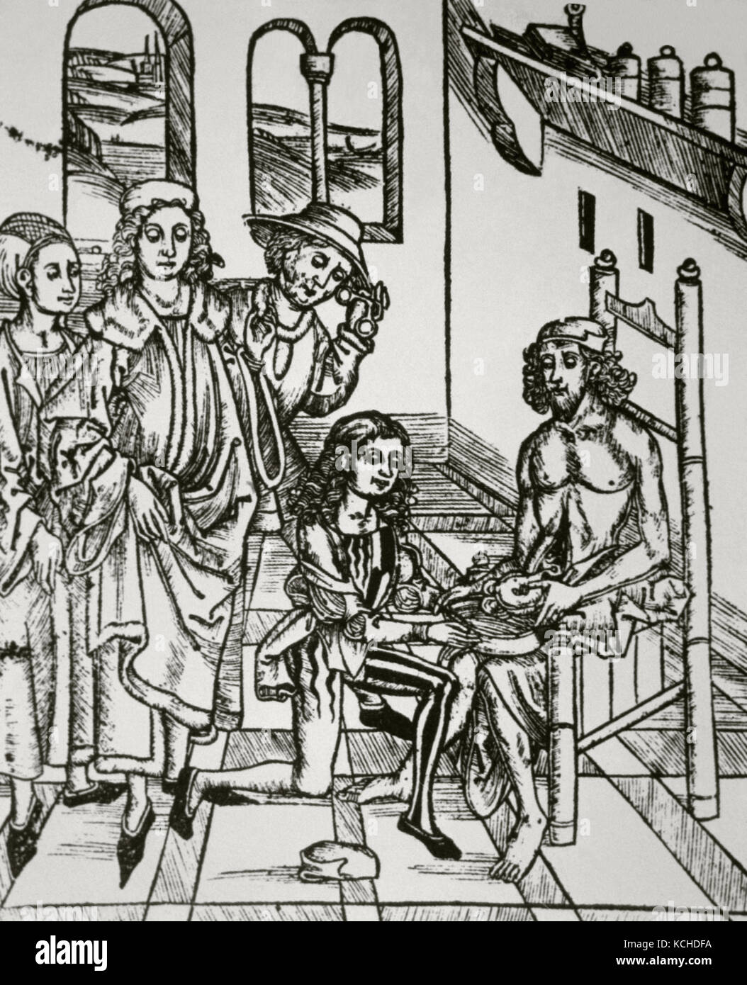 History of Medicine. Saturation of the intestine. Woodcut in Dies ist das Buch Der Chirurgia (This is the Book of - Stock Image