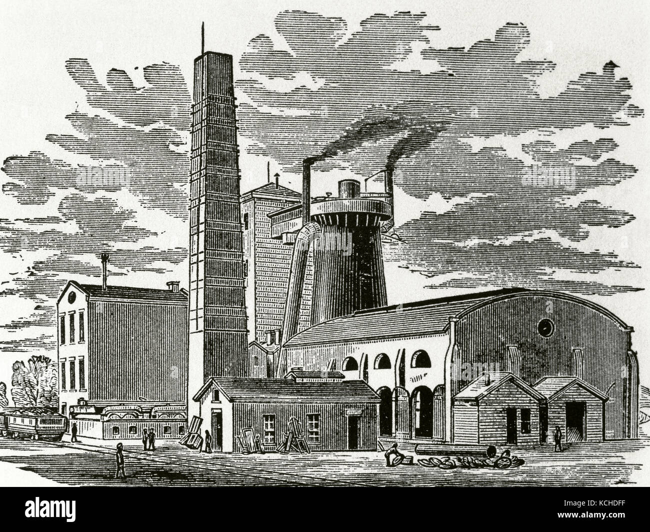 History of the United States. 19th century. Kentucky. The Ashland Furnace and Coal Works, 1876. Engraving. - Stock Image