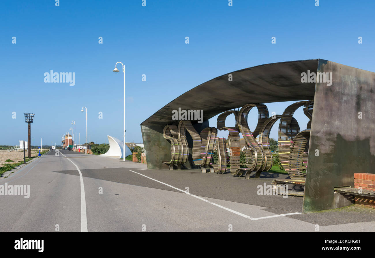 Shelter as part of the long bench (previously known as the longest bench in the world) on the promenade in Littlehampton, - Stock Image