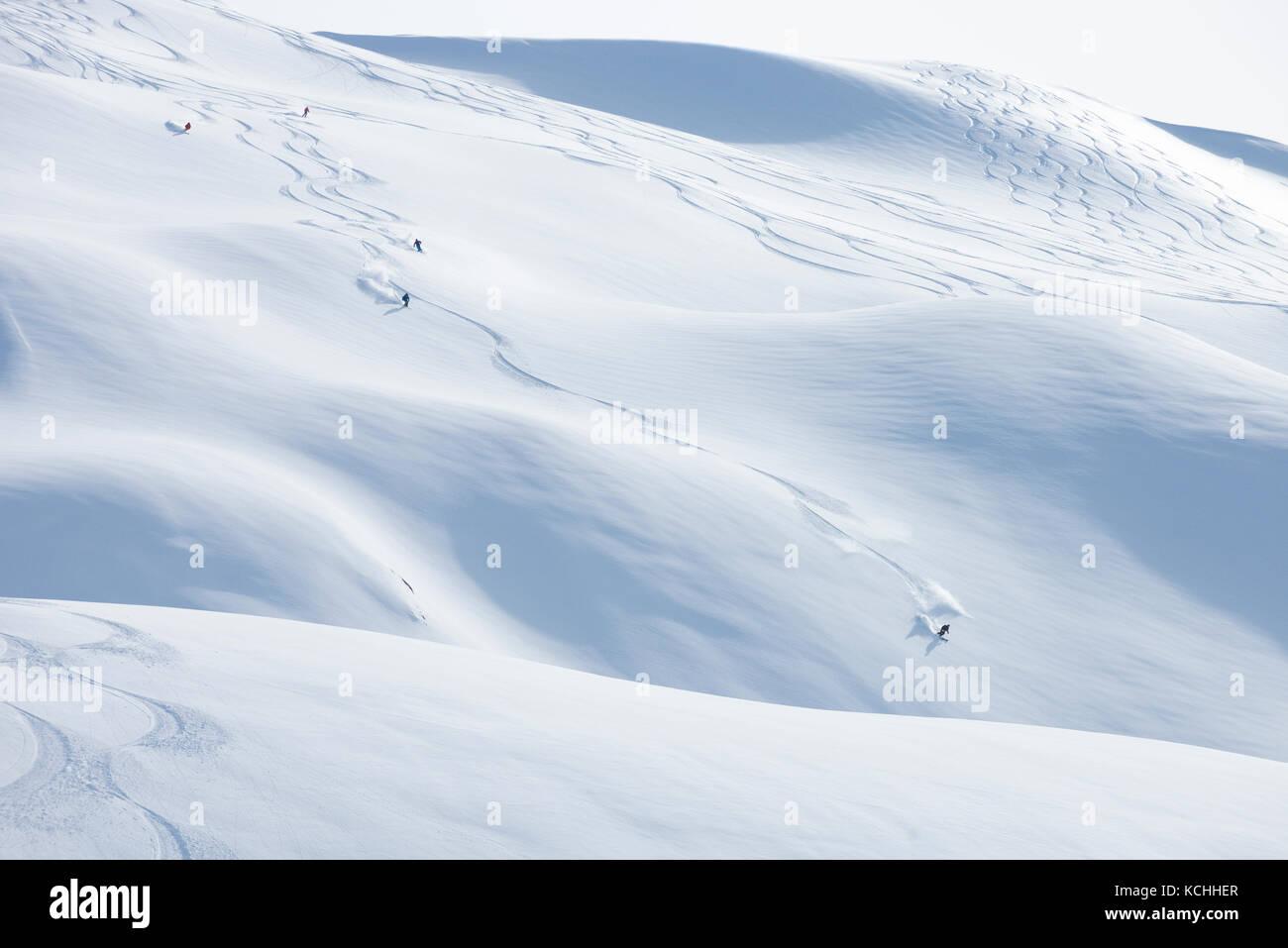 Incredible heliskiing runs off Repeater Mountain, Bella Coola Helisports - Stock Image