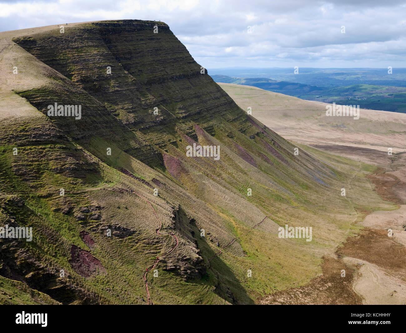 Picws Du, a shapely peak in the Bannau Sir Gaer, Black Mountain (Y Mynydd Du), Brecon Beacons National Park Stock Photo