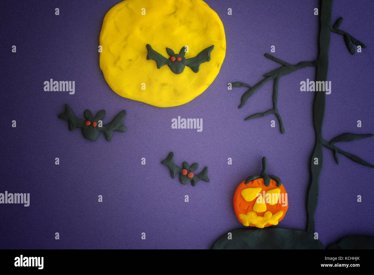 Happy Halloween. Childlike Halloween Art. Scene made out of play clay (plasticine). - Stock Image
